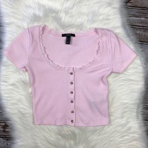 Forever 21 Lace Collar Button Down Pink Crop Top